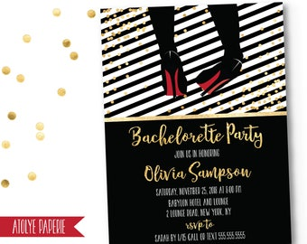 Bachelorette Party Invitation, Bachelorette Party Invite, Bachelorette Weekend, Black Gold Bachelorette Party Invite, Christian Louboutin