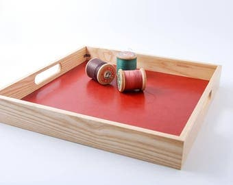 Leather and wood serving tray