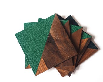 Leather and wood coasters