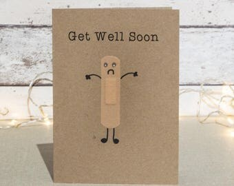 Personalised get well soon card - Plaster card - Get well card, light-hearted get well soon card - funny get well soon card
