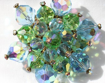 Very Impressive Faceted Aurora Borealis Crystal Bead Brooch in Greens and Blues with Tiny Rhinestone Detailing