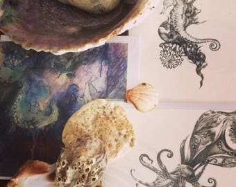 Selection of 5 art cards-Fine art card,surreal greeting card, psychedelic art card, giclee card,blank greeting card.