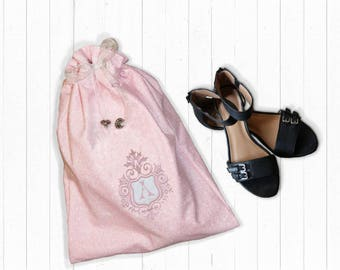 Pink Drawstring Tote bag with Embroidered Pink Monogram in Camelot Crest Applique Monogram Lingerie Bag Monogrammed Bridesmaid gift