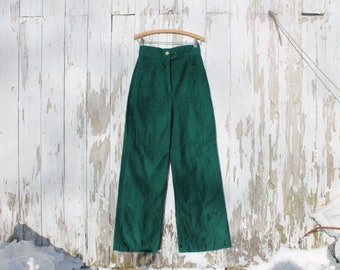 1970s dark green bellbottoms, high waist, pockets, wooden button, handmade vintage, medium, wide leg pants, green pants, emerald pants