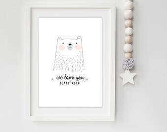 We Love You Beary Much Bear Nursery/Bedroom print