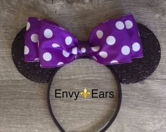 Purple Minnie Ears, PolkaDot Ears, Mickey Mouse Headband Ears,Mouse Ears, Disney Ears, Bridal Disney Ears,