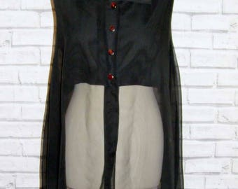 Size 14 vintage 90s sleeveless loose swing blouse part lined sheer black (IB63)