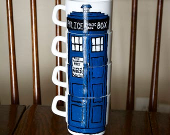 Doctor Who Tardis Wibbly Wobbly Timey Wimey Stackable Coffee or Tea Mugs