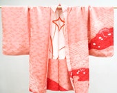 Japanese kimono jacket, authentic haori from Japan, peach pink and red silk
