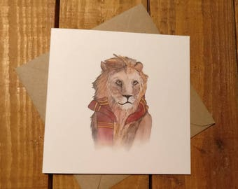 Harry Potter inspired Gryffindor card  watercolour design greetings card for any occasion