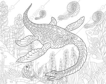 Plesiosaurus Dinosaur. Dino Coloring Pages. Animal coloring book pages for Adults. Instant Download Print