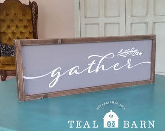 GATHER Hand Painted Wood Sign -- Farmhouse Style Magnolia Fixer Upper Joanna