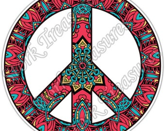 Peace Sign Hippie Love Colorful Gift Idea Car Bumper Vinyl Sticker Decal