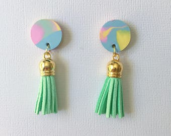 Statement Tassel Earrings - Rainbow Paddle Pop and Mint