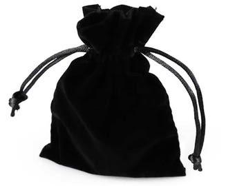 10 high-quality velour - bags, 85 x 120 mm, black