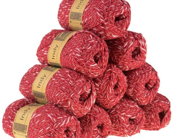 INDY, color 114 red yarn 10 x 50 g recycling-