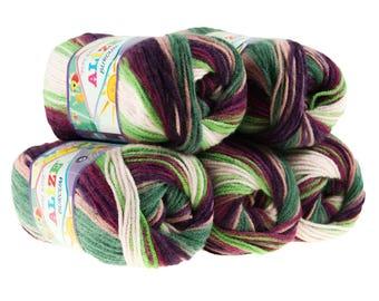 5 x 100 g yarn ALIZE SHERZOD # 6061 Green Pink fuchsia