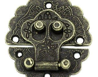 5 x chest closure chest Castle 4, 1x4cm antique brass snap