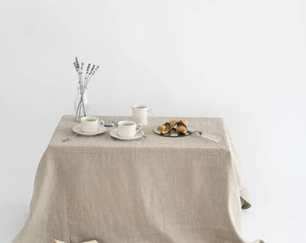 Natural Linen Tablecloth.  Softened Linen Tablecloth. Rustic Linen Tablecloths.