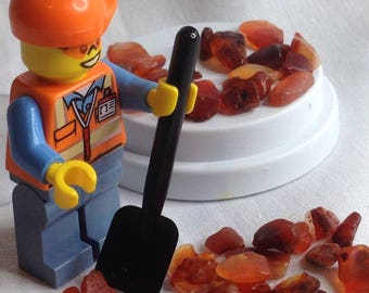 15%Off-Code-EOFYSALE15-Lego worker in 6cm Dome, shoveling carnelian gem stones-genuine LEGO pieces-reconstructed by me-great for a child