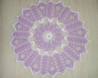 Purple and white cotton round doily