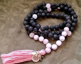 Lava Stone and Rose Quartz Mala; 108 Mala Beads; Yoga; Meditation Beads; Prayer Beads