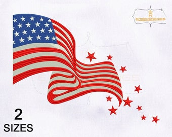 Fourth of July American Flag Embroidery Design | 4x4 | 5x7 Hoop Embroidery Design | USA Flag Embroidery Design | Flag Embroidery Designs