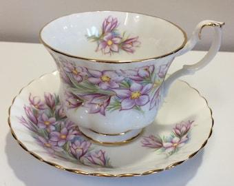 Royal Albert Prairie Crocus Bone China Tea Cup and Saucer England