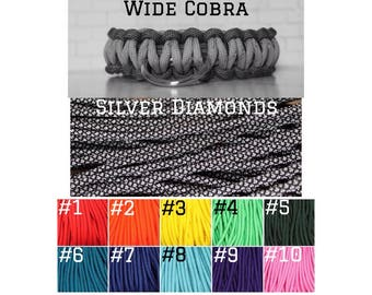 CUSTOM Wide COBRA PARACORD Silver Diamonds + Solid Color  – Pet Collar