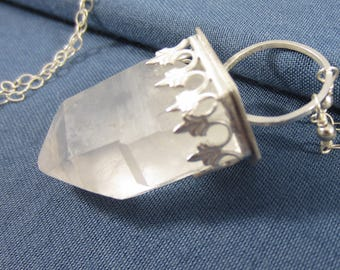 Arctic Ice Necklace - Terminated Quartz Crystal in Sterling Silver