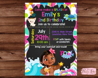 Moana Pool Party Invitation - Moana Pool Invitation - Moana Birthday Pool Party - Pool Party Invitation - Moana Invitation.