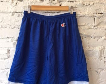 Vintage Reversible Champion Shorts / Basketball Shorts / Blue and White / Size Large / 90s 1990s / Hype / Dream Team