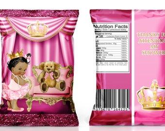 Royal Baby Shower Favor Chip Bag--Many skin tones to choose from----DIGITAL FILE ONLY