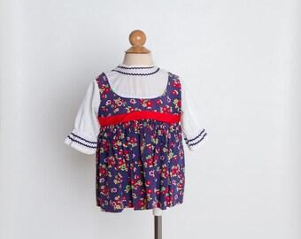 vintage 1960s toddler girl's dress | mod floral print
