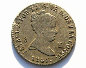 Spain - Beautiful copper coin of Elizabeth II - 1847