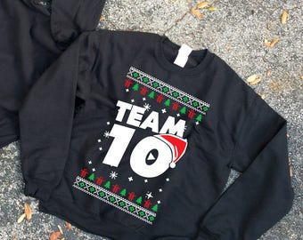 Ugly Chrismas Crewneck  Team 10 Official Unisex hoodie  Team 10 Jake Paul JP hoodie best price fast shipping Unisex  we have sizes for kids