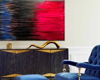 Abstract Painting Modern Art, Red Black White, OriginalAbstract Painting on Canvas.