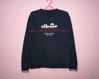 Rare!! Vintage Ellesse Perugia Italia Small Spellout Embroidery Pullover Jumper Sweatshirt