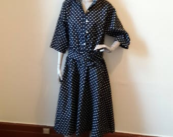 Navy White Polka Dot Dress