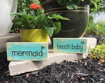 Aqua beach sign-shelf sitter beach word art beach decor beach lover gift coastal decor whimsical beach sign beach house decor beach quote