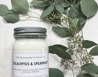 16 oz. Eucalyptus & Spearmint Hand Poured Pure Soy Candle with Cotton Wick