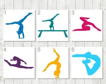 Gymnastics Decal, Custom Gymnast Decal, Gift for Gymnastics Coach, Gymnast Team Gift, Gymnast Car Decal, Gymnast Gift, Gymnast Laptop