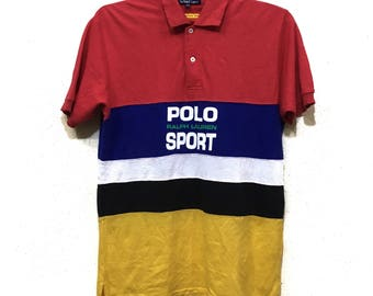 Vintage 90s Polo Sport by Ralph Lauren polo shirt spell out big logo colour block M size
