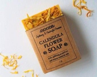 Calendula Flower Soap, All Natural Soap, Handmade Soap, Lemon soap, Grapefruit soap. essential oil soap