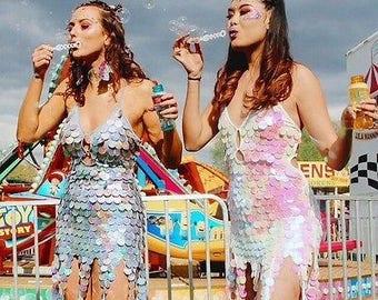 Shimmery sequin unicorn mermaid magic nymph festival dress