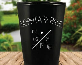 Custom Tribal Arrows Cute Black Wedding Favor Shot Glasses