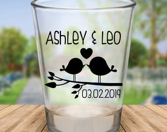 Custom Love Birds Wedding Favor Shot Glasses