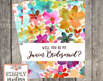 Will You Be My Junior Bridesmaid, Printed Note Card, Bridal Party Ask Card, Wedding Party Card, Bridal Proposal Card, Floral Watercolor