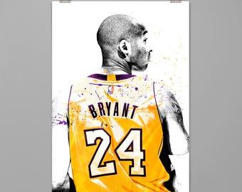 Kobe Bryant Los Angeles Lakers art print Basketball poster Sports wall decor Wall art Living room wall decor Contemporary art PRINT #0104