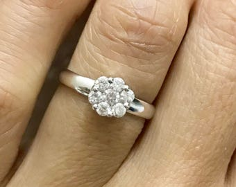 Solitaire ilusion engagement ring .35ctw, 18k solid white gold, promise ring.
